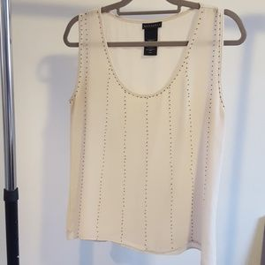 Sleeveless gold-beaded blouse